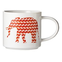 Room Essentials™ Patterned Elephant Ceramic Coffee Mug Set of 2 - Red/Orange