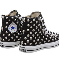 Studded Converse, Black Converse with Silver Cone Rivet Studs by CUSTOMDUO on ETSY