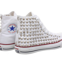 Studded Converse, White Converse with Silver Cone Studs (Oneside Studded) by CUSTOMDUO on ETSY
