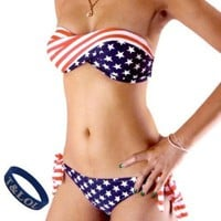 T&LOL 1 ONE SET 2pcs TWO pieces Hot New sexy women girls teens ladies Sexy the USA America Flag Padded Bandeau Bikini Trikini Push up Swimming Swimsuit Swimwear underwear Bra top Bottom Beachwear Bathing Suit + T&LOL bracelet