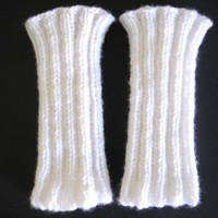 White Knitted Arm Warmers or Leg Warmers for Dance, Yoga, or Fashion | StarlightSarah - Accessories on ArtFire