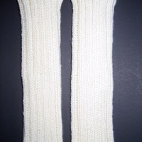 White Soft Wool Leg Warmers or Arm Warmer Sleeves, Knitted Pure Wool | StarlightSarah - Knitting on ArtFire