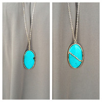 Turquoise Pendant Long Necklace