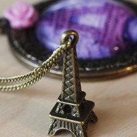 Paris Eiffel Tower vintage style necklace, pink rose pendant, long bronze chain , glass lens jewelry, glass dome pendant, purple pendant