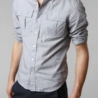 UrbanOutfitters.com > All-Son Mini Pinstripe Military Shirt