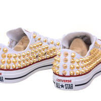 Studded Converse, Converse White low top with Gold Cone Studs by CUSTOMDUO