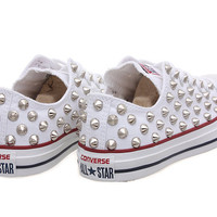 Studded Converse, Converse White Low Top with Silver Cone Studs by CUSTOMDUO on ETSY