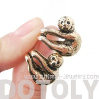 Realistic Baby Sloth Dangling Animal Shaped Stud Earrings Shiny Gold