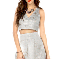 Floral Jacquard Crop Top in Light Blue