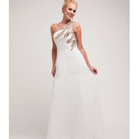 2014 Prom Dresses - Off White Chiffon & Gold Stone One Shoulder Gown