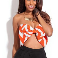 Orange and White Chevron Oversized Bow Top