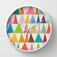 Analogous Shapes In Bloom. Wall Clock by Nick Nelson