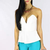 Sweet Days Peplum Top - White @ LushFox.com :: Current Fashion Trends & Styles