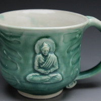 Buddha Mug Meditation Art Bas Relief Sculpture Cup