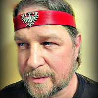 Phoenix Red Leather Headband Firebird Pagan Headpiece Add Runes Pentacles