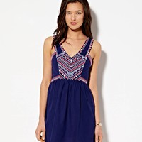 AEO Women's Boho Embroidered Dress (Nav