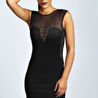 Cameron Embellished Plunge Bodycon Dress