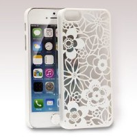 Women's 3D Embossed Hollow Rose Flower Hard Cover Case for iPhone 5 5S 5th Gen (White)