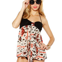 Papaya Clothing Online :: GEO PRINT BABY-DOLL TUBE TOP