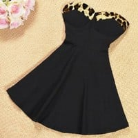 Simple Wild Leopard Dress (Black)