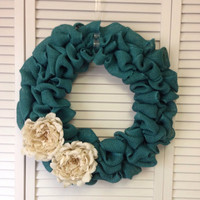 Teal Burlap Wreath with Burlap Flowers, Wreath for All Year, Spring Wreath, Blue Wreath, Turquoise Wreath, Ivory Burlap Flowers, Peonies