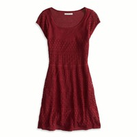 AE SHORT SLEEVE CROCHETED SWEATER DRESS