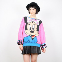 Vintage Minnie Mouse Sweatshirt REVERSIBLE Sweatshirt Cartoon Disney Mickey Mouse T Shirt Jumper Pullover Hearts Pink Teal Blue Black L XL