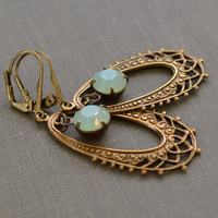 Mint Opal Art Nouveau Brass Earrings, Antiqued Brass Stamped Pendant, Chrysolite Rhinestone Lever Back Earrings