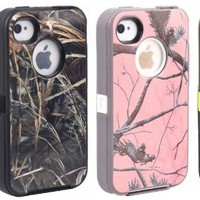Pack of 4 Huaxia Datacom Body Armor Realtree Heavy Duty Camo Defender PC Rubber Hybrid Hard Case w/ Dragon Film for iPhone 4/4S- Wholesale 4pcs/pack