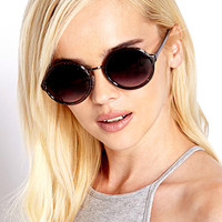 F3895 Glittered Round Sunglasses