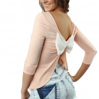 Peach Bow Back Top