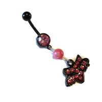 Fox Head Racing Black and Pink Belly Ring Body Jewelry