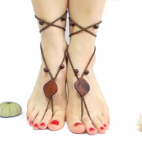 ON SALE, Crochet Barefoot sandals, Brown, Barefoot Sandles, Beaded Barefoot Sandal, Noble, Brown, Sexy feet, Nude shoes, Foot jewelry, Goth