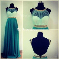 Custom Made A-line Chiffon Backless Long Prom Dresses, Bridesmaid Dresses, Gree Prom Dresses, Dress For Prom 2014