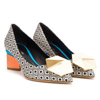 NICHOLAS KIRKWOOD | Geometric Fabric Pumps with Block Heel | Browns fashion & designer clothes & clothing