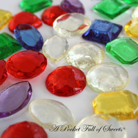 125 ASSORTED COLORS Edible Sugar Gems Barley Sugar Bite Sized Hard Candy 6.5 oz Cake Decor Cupcake Jewels