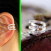 Strings Attached Rhinestone Ear Cuff (Single, No Piercing)