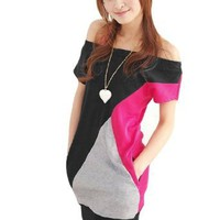 Allegra K Women Boat Neck Short Bat Sleeve Shirt Black Fuchsia Gray XS