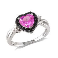 7.0mm Heart-Shaped Lab-Created Pink Sapphire, Black Spinel and Diamond Accent Ring in Sterling Silver
