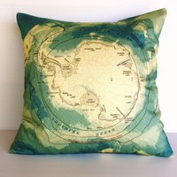 Organic cotton Map of Antarctica by mybeardedpigeon on Etsy