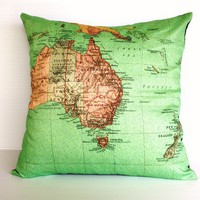 Organic cotton Vintage map of Australasia by mybeardedpigeon