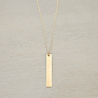 Customized Gold Bar Necklace // Personalized Bridesmaids Necklaces // Stamped Vertical Bar Necklace