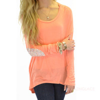 Rock Candy Coral Sequin Patch Hi-Lo Top