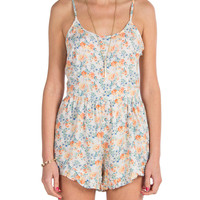 Ruffle Bottom Floral Romper - Orange