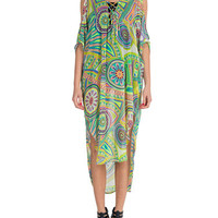Lush Clothing - Neon Printed Chiffon Cover Up Dress