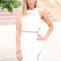 White Mesh Cutout High Neck Halter Dress
