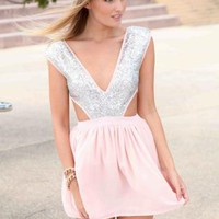 White A-Line Dress with Silver Sequin Bodice