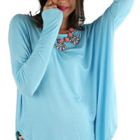 Long Sleeve Solid Comfy Tunic - Sky Blue