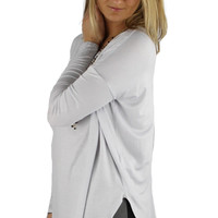 Long Sleeve Solid Comfy Tunic - Light Gray