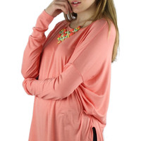 Long Sleeve Solid Comfy Tunic - Coral Pink
